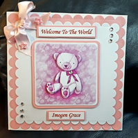 Personalised New Baby Girl or Boy Card