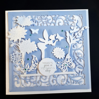 Personalised Female Birthday Card - Fairy Woodland Blue White