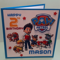 Personalised Birthday Card, Paw Patrol, Son, Grandson,Nephew, Brother