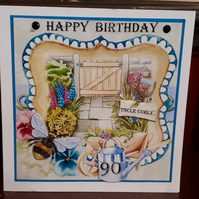 Personalised Birthday Card - Garden Scene - Birthday, Retirement,Get Well Soon