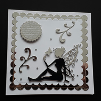 Fairy Birthday Card Silver and White