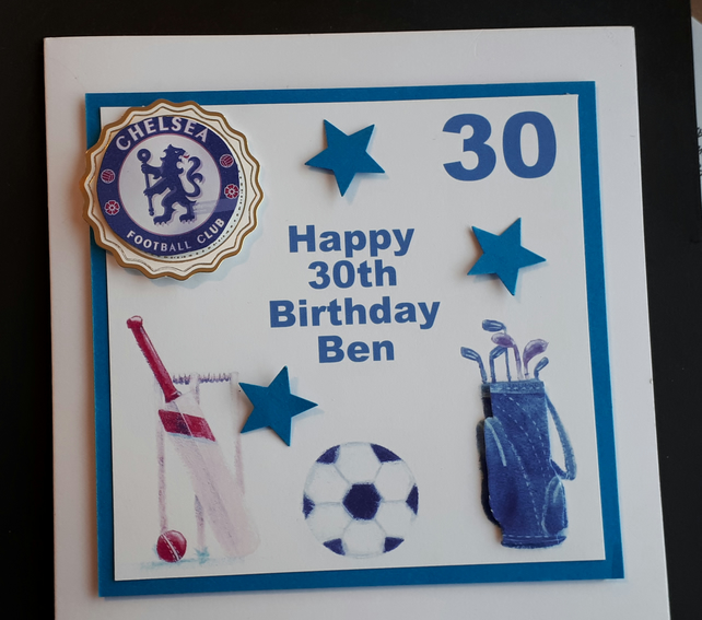 Personalised Male Sports Themed Birthday Card, Father's Day Card
