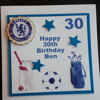 Personalised Male Sports Themed Birthday Card