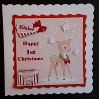 Personalised 1st  Christmas Card Daughter Granddaughter