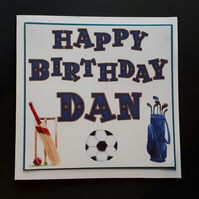 Personalised Male Birthday Card - Sports Theme