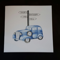 Male Birthday Card  - vintage car