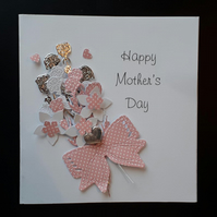 Floral Spray Mother's Day Card with Keepsake Charm, Pink, Birthday Card