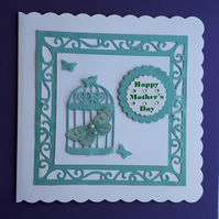 Birdcage & Butterfly Mother's Day Card, Jade  Birthday Card