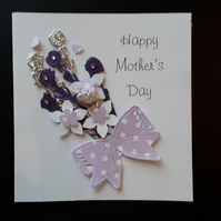 Mother's Day Card - Purple lilac & Silver Spray