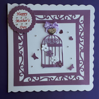 Mother's Day Card with Heart Keepsake Charm. Mum Birthday Card