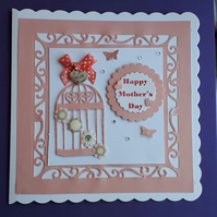 Mother's Day Card with Heart keepsake Charm, Peach & White, Mum Birthday Card