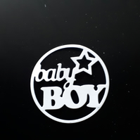 6 Die Cut Baby Boy Card Toppers