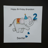Personalised Elephant Birthday Card, Grandson  Son
