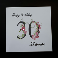 Personalised 30th Female Birthday Card  40th 50th 60th
