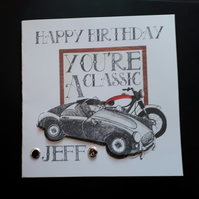 Personalised Male Birthday Card Classic Car and Bike