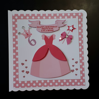 Personalised 6th Birthday Card, Princess, daughter, grandaughter,4th,5th,7th,8th