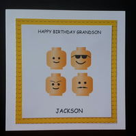 Personalised Lego Heads Card Son, Grandson, Brother, Nephew