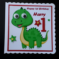 Personalised Dinosaur Birthday Card Son, Grandson,Nephew,Brother, 1st,2nd