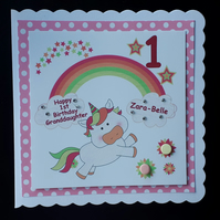 Personalised Unicorn Birthday Card Daughter, Granddaughter, Sister, Niece