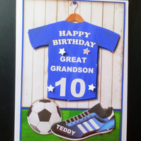 3D Personalised Male Birthday Card Boy, Son,Grandson,Brother, Nephew, Football