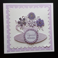 Lacy Teacup  Card, Birthday, Mother's Day, Get Well, Thinking of You