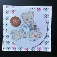Teddy Bear Card 2 Any Occasion Thank You, Get Well, Birthday