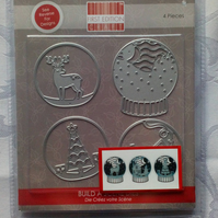 First Edition Metal Cutting Die Set. Christmas Snowglobes