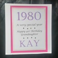 "Personalised Year of Birth Card, 16, 17, 18,21,30,40""50"