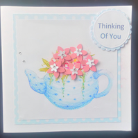 Teapot & Flowers Card, birthday, Mother's Day, get well soon,thank you