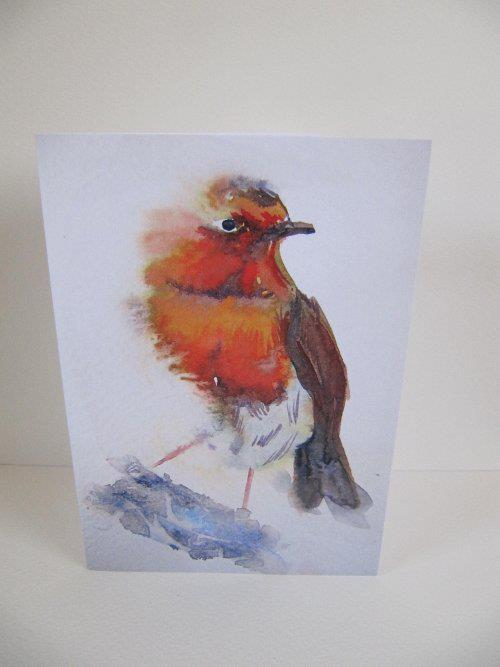 Watchful Robin art print greeting card