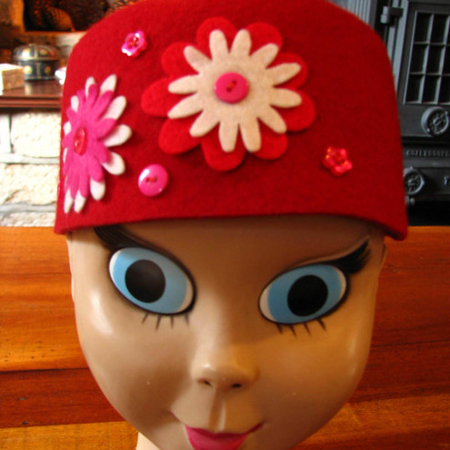 Floral Fez in Hot Tomato Red!