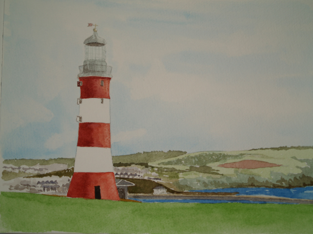 Original watercolour Plymouth Hoe - lighthouse