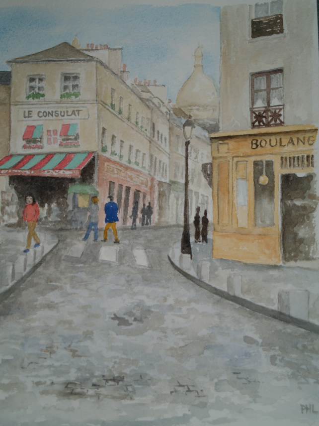 Original watercolour of Montmartre, Paris