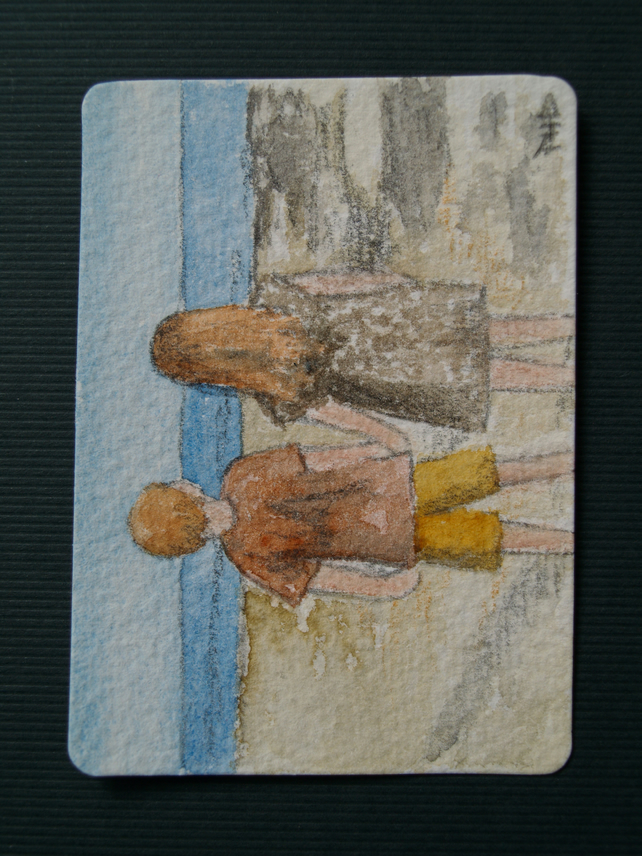 ACEO Original watercolour Children on the Beach