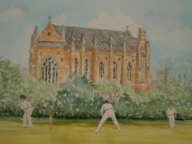 Original watercolour Cricket at Oxford