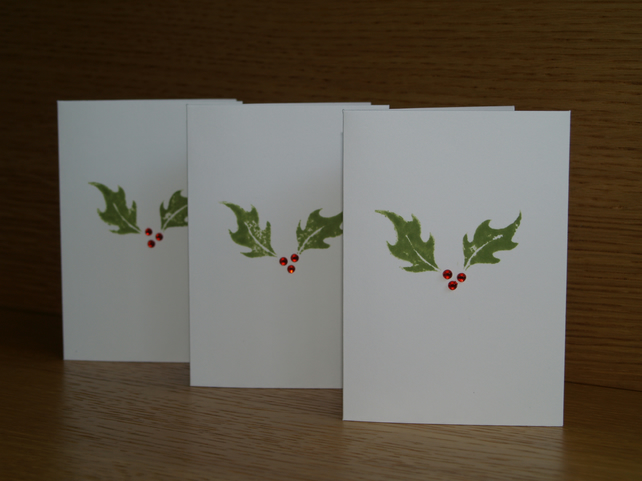 Three Holly Christmas Cards