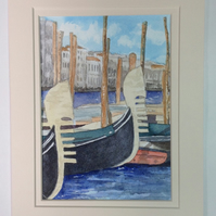 Gondolas, Venice original watercolour painting