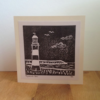 Lino cut original art card Plymouth Hoe