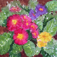 Primroses original painting with mount