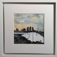 Original watercolour 'London Docklands at sunset'