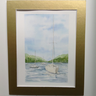 Yachts on the Lake original watercolour