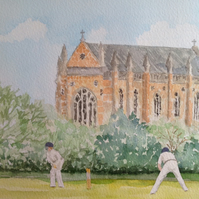 Playing Cricket original watercolour