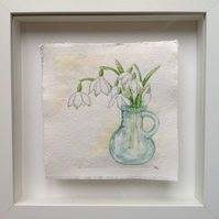 Snowdrops and Green Glass original watercolour