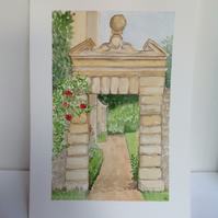 'Through the Archway' original watercolour painting