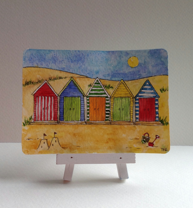 Beach Huts and Sand Dunes original ACEO painting