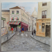 'Sightseeing in Paris' original watercolour painting