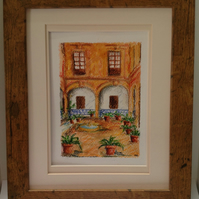 Spanish Courtyard original mixed media painting