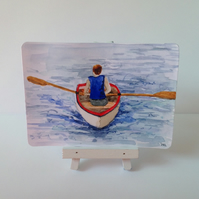 Original ACEO 'Rowing' watercolour