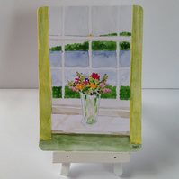 Original ACEO 'Flowers on the windowsill' watercolour