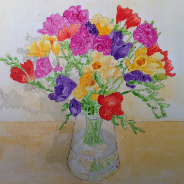 Freesias original watercolour and acrylic painting